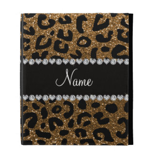 Custom name gold glitter cheetah print iPad folio case