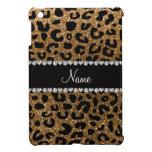Custom name gold glitter cheetah print iPad mini cover