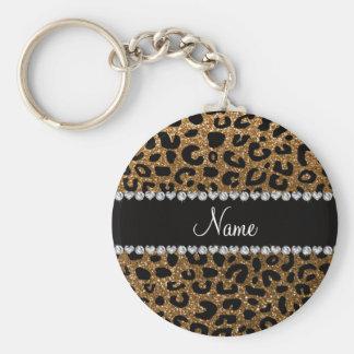 Custom name gold glitter cheetah print keychain