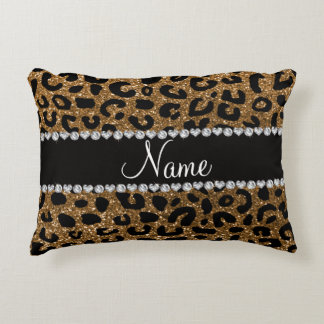 Custom name gold glitter cheetah print accent pillow