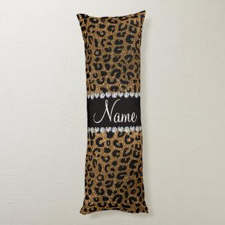 Custom name gold glitter cheetah print body pillow