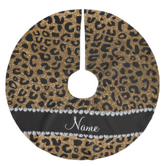 Custom name gold glitter cheetah print brushed polyester tree skirt