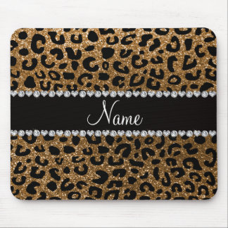 Custom name gold glitter cheetah print mouse pad