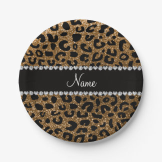 Custom name gold glitter cheetah print paper plate