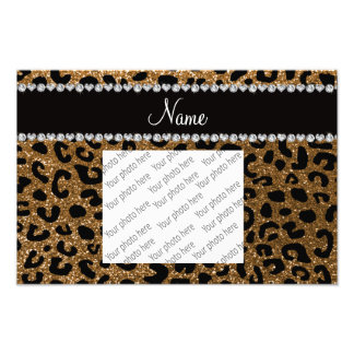 Custom name gold glitter cheetah print photo print