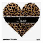 Custom name gold glitter cheetah print room stickers