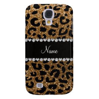 Custom name gold glitter cheetah print samsung galaxy s4 cover