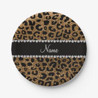 Custom name gold glitter cheetah print 7 inch paper plate