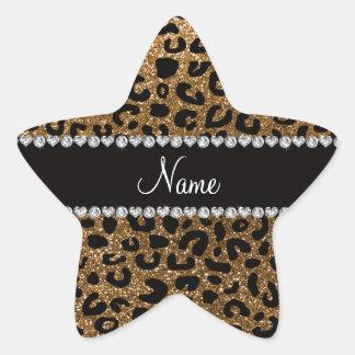 Custom name gold glitter cheetah print star sticker