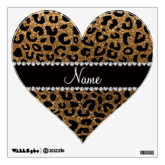 Custom Name Gold Glitter Cheetah Print Wall Decal