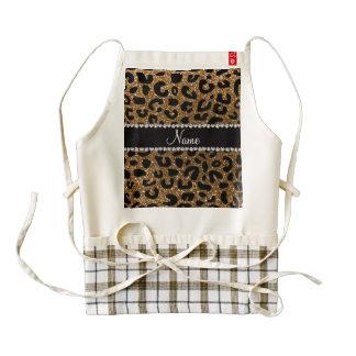 Custom name gold glitter cheetah print zazzle HEART apron