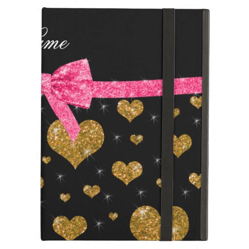 Custom name gold glitter hearts pink bow iPad folio cases