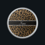 """Custom name gold glitter leopard print bluetooth speaker<br><div class=""""desc"""">Modern,  chic and trendy personalized custom name gold glitter leopard spots pattern (animal print) with a beautiful black diamonds stripe (not real diamonds) with hearts and dots personalized with your name gifts or monogram gifts or your initials. Pretty girly leopard print gift ideas.</div>"""