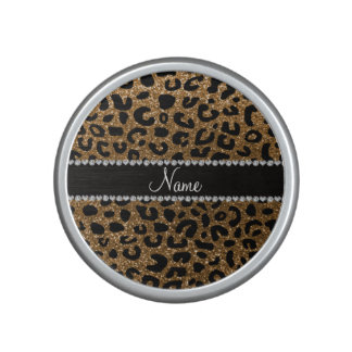 Custom name gold glitter leopard print bluetooth speaker