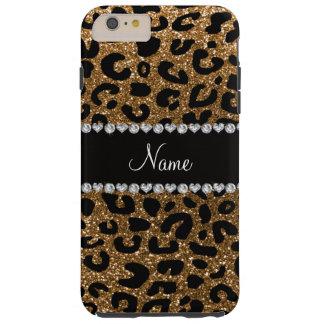 Custom name gold glitter leopard print tough iPhone 6 plus case