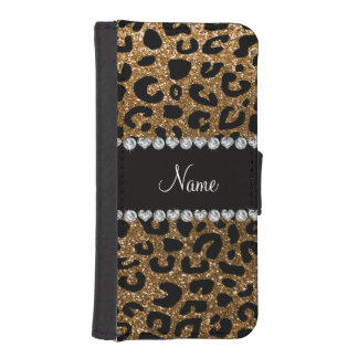 Custom name gold glitter leopard print iPhone 5 wallets
