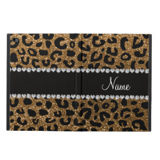 Custom name gold glitter leopard print powis iPad air 2 case