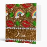 Custom name gold glitter shamrocks rainbows kisses binder