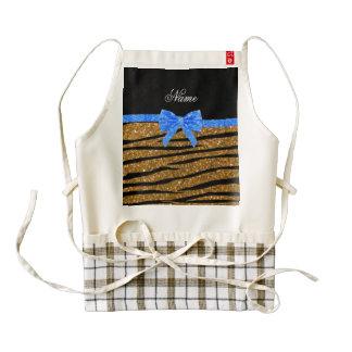 Custom name gold glitter zebra stripes blue bow zazzle HEART apron