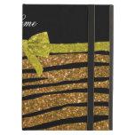 Custom name gold glitter zebra stripes name iPad case