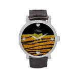 Custom name gold glitter zebra stripes name watches
