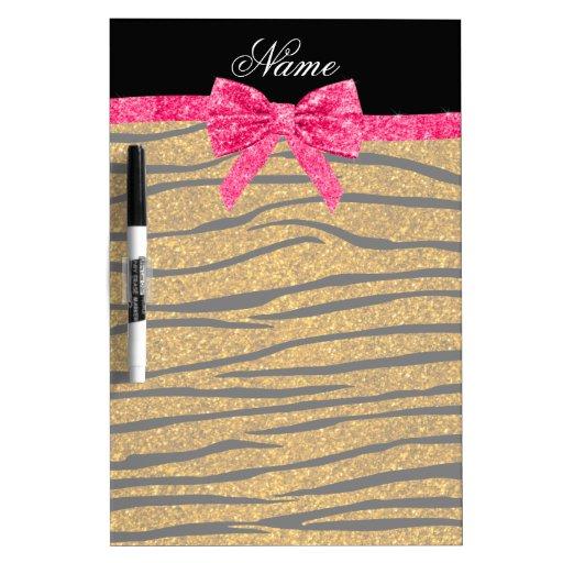 Custom name gold glitter zebra stripes pink bow Dry-Erase whiteboard