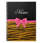 Custom name gold glitter zebra stripes pink bow spiral notebook