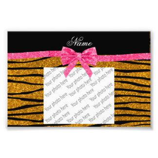 Custom name gold glitter zebra stripes pink bow photo