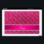 """Custom name gold neon hot pink glitter moroccan laptop skins<br><div class=""""desc"""">Girly, chic and trendy Personalized custom name quatrefoil neon hot pink glitter (not real glitter) gold moroccan trellis pattern with a pretty pink diamond stripe ribbon (not real diamonds) with beautiful hearts and dots personalized with just add your name gifts or monogram gifts or your initials. Featuring an elegant and...</div>"""