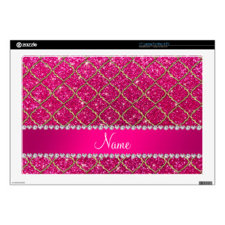 Custom name gold neon hot pink glitter moroccan laptop skins