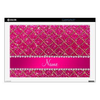 Custom name gold neon hot pink glitter moroccan laptop skins