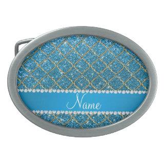 Custom name gold sky blue glitter moroccan oval belt buckle