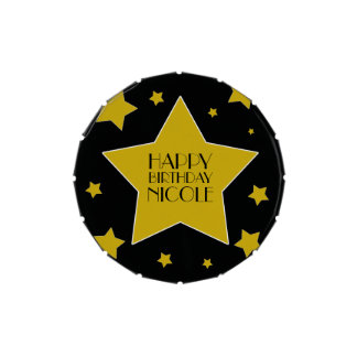 Custom Name Gold Stars On Black Hollywood Jelly Belly Tin