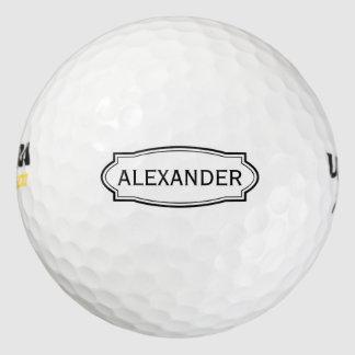 Custom name golf balls with elegant border frame