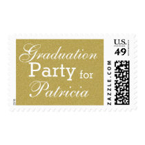 Custom Name Graduation Party Glitter Gold Stamp