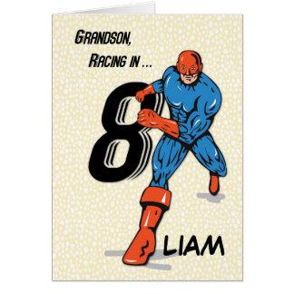 Custom Name, Grandson 8th Birthday Superhero, Liam Card