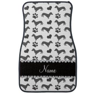 Custom name gray dachshunds hearts paws car mat