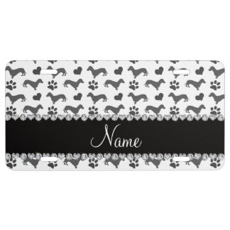 Custom name gray dachshunds hearts paws license plate