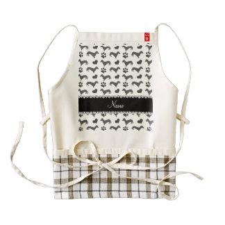 Custom name gray dachshunds hearts paws zazzle HEART apron