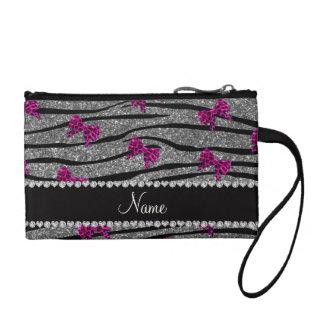 Custom name gray zebra stripes pink bows change purse