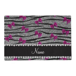 Custom name gray zebra stripes pink bows laminated place mat