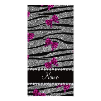 Custom name gray zebra stripes pink bows custom photo card