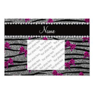 Custom name gray zebra stripes pink bows photo print
