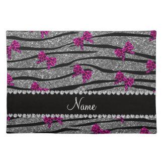 Custom name gray zebra stripes pink bows cloth place mat