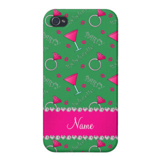 Custom name green bachelorette cocktails rings iPhone 4 case