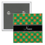 Custom name green basketballs and hearts 2 inch square button