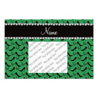 Custom name green black high heels bow diamond photograph