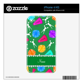 Custom name green cheerleading pompoms skin for the iPhone 4