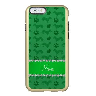Custom name green dachshunds hearts paws incipio feather® shine iPhone 6 case