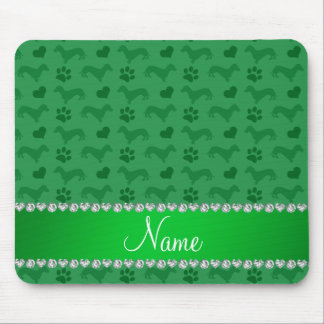 Custom name green dachshunds hearts paws mouse pad
